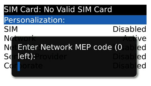 Reparar BlackBerry MEP 0