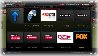 XBMC Canales